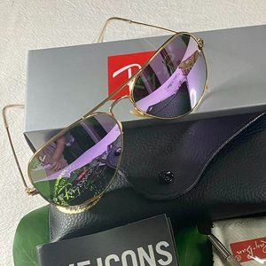 NWT RB3025 Purple Aviators Sunglasses 58mm
